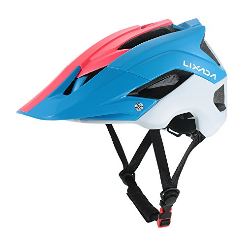 Lixada Mountain Bike Helmet Ultralight Adjustable MTB Cycling Bicycle Helmet Men Women Sports Outdoor Safety Helmet with 13 Vents (Blue+Red+White)