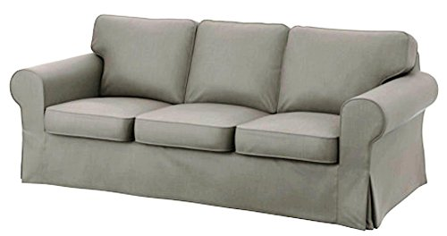 Ektorp 3 Seat Sofa Cotton Cover Replacement is Custom Made Slipcover for IKEA Ektorp Sofa Cover (Light Gray Durable Cotton)