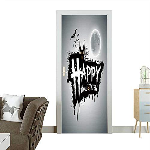 Door Sticker Wall Decals Happy Halloween Message Design Background,Vector Easy to Peel and Stick W17.1 x H78.7 -
