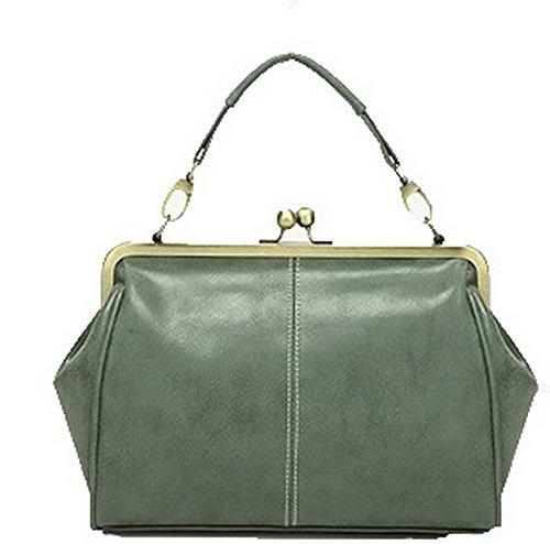AgooLar Mujeres Hebilla Moda PU Bolsos Cruzados Casual Bolsas de Hombro Verde