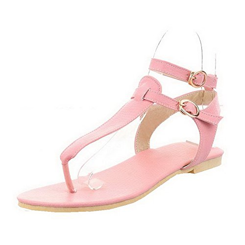 Sandals Pink Womens Solid Toe Buckle AalarDom Low Heels Split dRwq8dxv0