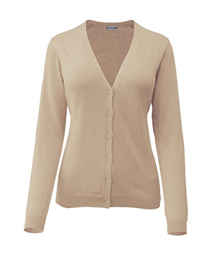 Mai Chus Women's Solid V Neck Button Down Long Sleeve Basic Knit Cropped Cardigan Sweater Tops Beige L