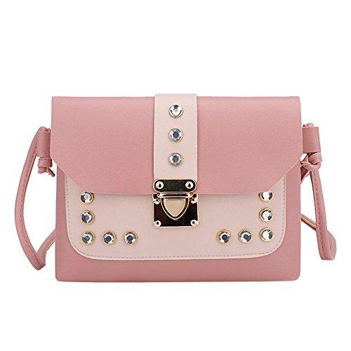 Personalizzabile Casual Borsa In Tracolla Donna Ansenesna A Quadrata Da Contrasto Piccola Rosa Rivetto Diamante Colore Pelle 8w0dRq