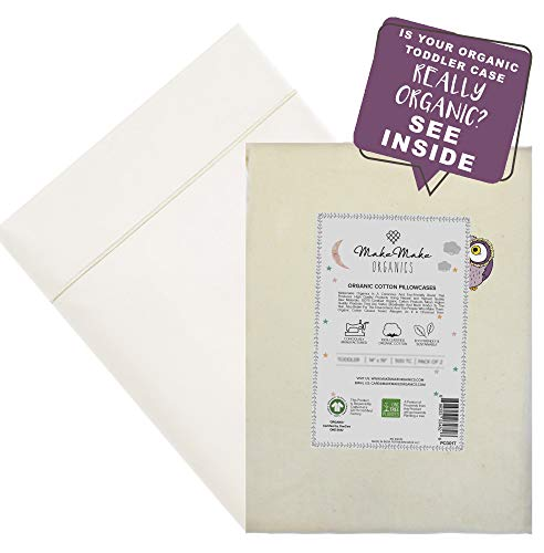 Organic Pillowcase Toddler (Set of 2) | GOTS Certified Organic Cotton Pillowcase Toddler | Anti Allergy Chemical Free Healthy Safe for Sensitive Skin | Pearl White | Fits 13x18 Toddler Pillows (14x19)