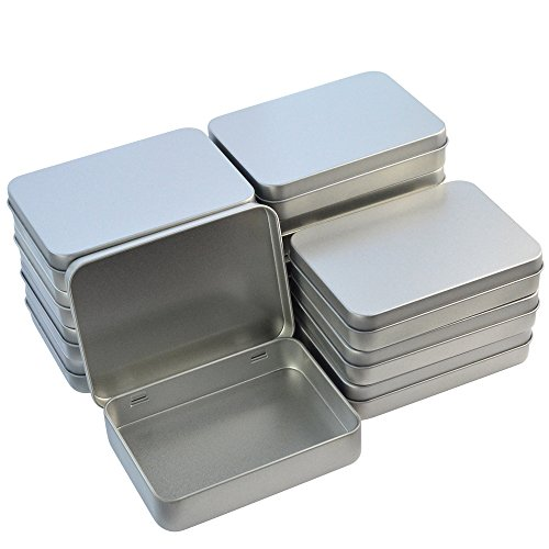 12pcs Metal Rectangular Empty Hinged Tins Box Containers 4.5x3.3x0.9 in, Wobe Mini Portable Box Small Storage Kit Home Organizer Holders For First Aid Kit, Survival Kits, Storage, Herbs, Pills, Crafts - Silver Plated Lid