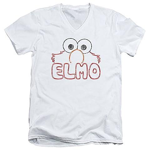 Sesame Street Elmo Letters Mens V-Neck Shirt XL White - Elmos Letter