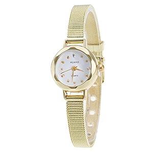 Hmlai Women Ladies Fashion Casual Stainless Steel Mesh Band Analog Quartz Wrist Watch