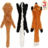 No Stuffing Dog Toys with Squeakers, Durable Stuffless Plush Squeaky Dog Chew Toy Set with Fox Skunk Lion for Small Medium and Large Dogs 3 Packs, 23-Inch