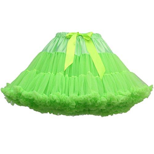 Jupe Tutu Femme Jupon Tulle Fille Adulte Dguisement Tutu Danse Bouffante Jupe Froufrou Jupes Tulles Pettiskirt Deguisement Classique Petticoat Layered Ruffle Princesse Ballet Fluorescence Vert