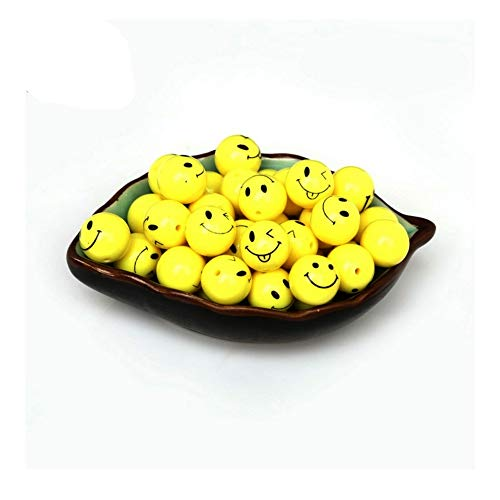 (iZasky Smile Face Beads 14/16/18mm Yellow 20-40Pcs - Smiling Face Round Ball Spacer Bead Plastic Acrylic for Necklace Bracelet Jewelry Craft Making DIY (14mm 40pcs))
