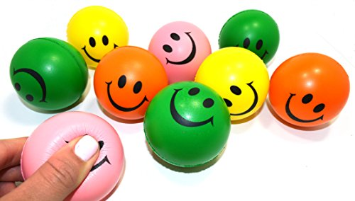 Dazzling Toys Neon Smile Face Relaxable Squeeze Balls (2 Dz) Assorted Colors