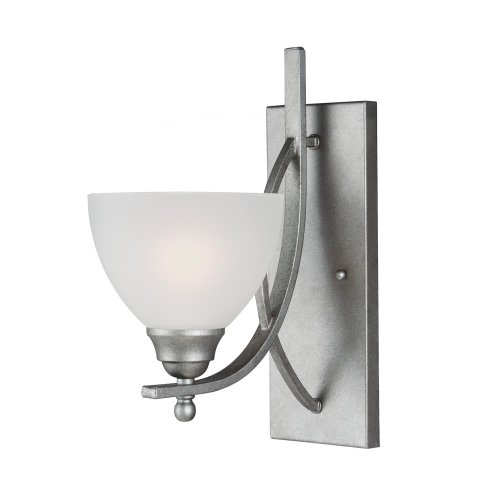 Sea Gull Lighting 4131401-57 Vitelli - One Light Wall/Bath Bar, Weathered Pewter Finish with Satin Etched Glass