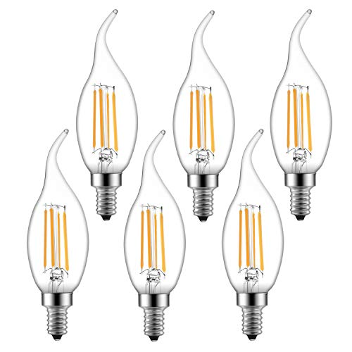 Dimmable LED Candelabra Bulb 6W 600LM 2700K Warm White 60W Equivalent Vintage LED Filament Candle Bulbs C35 Flame Tip E12 Base Decorative LED Chandelier Light Bulbs Pack of 6