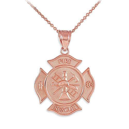 14K Rose Gold Fire Rescue Maltese Cross Firefighter Necklace (20)