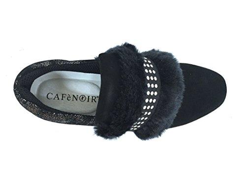 pellicciotto donna NERO Scarpa CafèNoir on con sintetico slip DA522 camoscio A8xv6qx