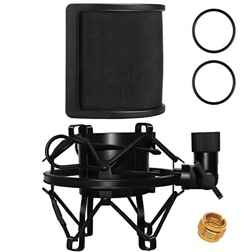 PEMOTech Shock Mount with Pop Filter, Universal Anti-Vibration Suspension Mic Shock Mount Fits Diameter 46mm-53mm Microphone with Connector Adaper
