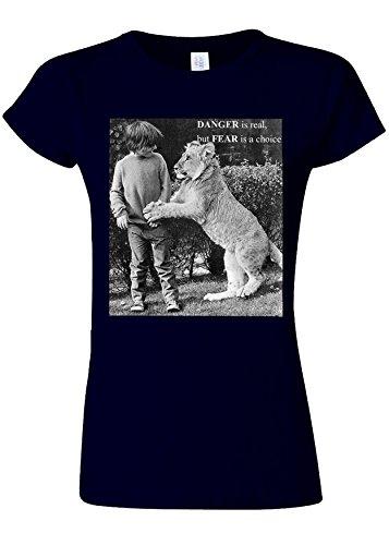 火山の心のこもったアイロニーDanger is Real Fear is Choice Lion Kid Novelty Navy Women T Shirt Top-L