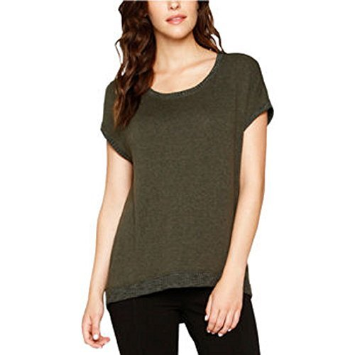 Matty M Womens Cap Sleeve Sweater with Exposed Back Zipper (Medium, Light Olive) Exposed Back Zipper