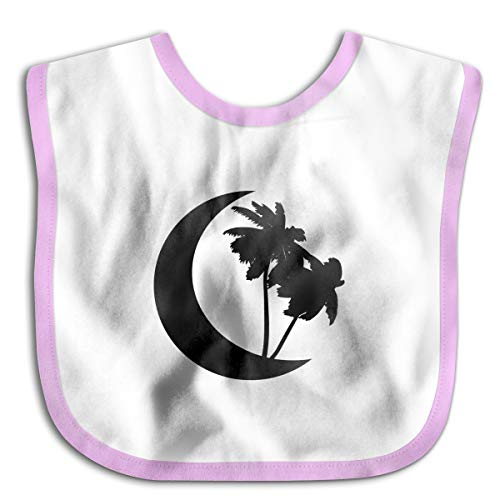 - Crescent Moon Logo Drooling Bibs Teething Bib for Baby Boys Girls Organic Cotton White
