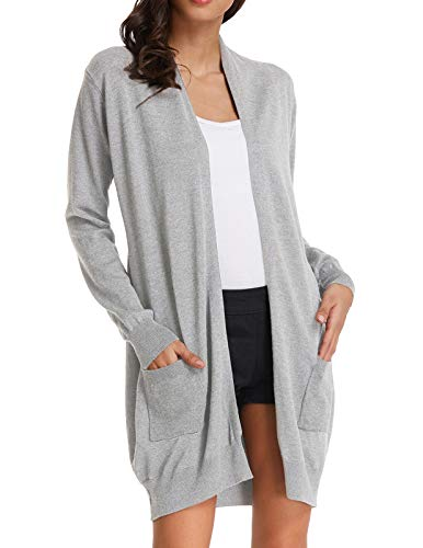 (GRACE KARIN Plus Size Long Open Front Cardigans Sweaters for Women (XL,Light Grey) )