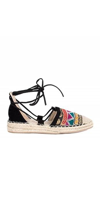ALEX SILVA Alpargatas Planas Étnicas - Color - Negro, Talla Zapatos Mujer - 36: Amazon.es: Zapatos y complementos