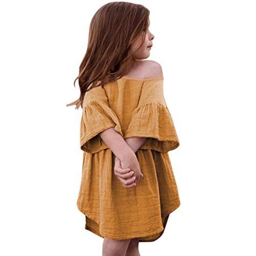 VEFSU Toddler Baby Girls Off Shoulder Flare Sleeve Ruffles Solid Print Dress Lovely Clothes Yellow