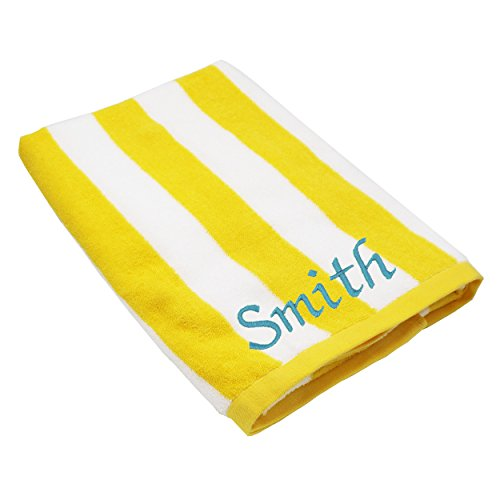 Personalized Striped Beach Towel - Monogrammed Pool Towels Gift - Custom Embroidered for Free (Yellow) (Monogram Beach Towel)