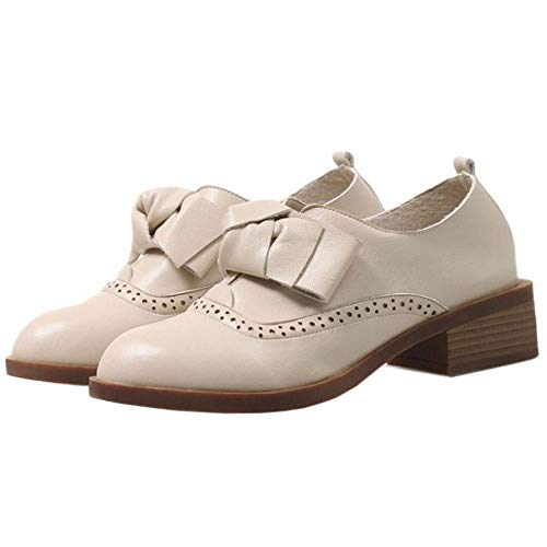 Slip Pumps Heel Fashion Low Shoes Taoffen On Women Beige IgwqPBPY