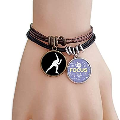 master DIY Sport Roller Skating Black Silhouette Bracelet Rope Wristband Force Handcrafted Jewelry Estimated Price -