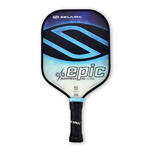 Selkirk Amped Pickleball Paddle - USAPA Approved - X5 Polypropylene Core - FiberFlex Fiberglass Face - 5 Sizes: Epic, S2, Omni, Maxima, and INVIKTA (Epic Midweight - Sapphire Blue)