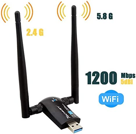 Techkey Wireless USB WiFi Adapter 1200Mbps Dual Band 24GHz300Mbps 5GHz867Mbps High Gain Dual 5dBi