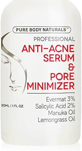Pure Body Naturals Clear Complexion Serum & Pore Minimizer - Made with Revolutionary Evermat® - 1 oz