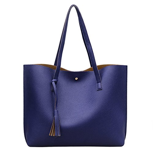 Nodykka Women Tote Bags Top Handle Satchel Handbags PU Pebbled Leather Tassel Shoulder Purse (DARK - Bag Blue Leather