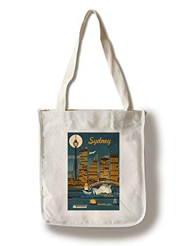 [Sydney, Australia - Retro Skyline (100% Cotton Tote Bag - Reusable)] (Australia Bag)