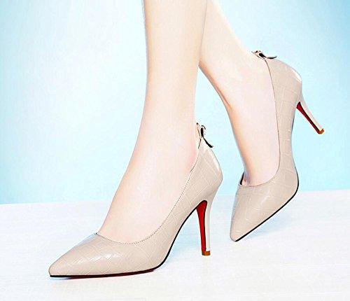 KHSKX-Primavera 9Cm Beige High-Heel Zapatos De Punta Fina Y Ligera Con Solo Zapatos Zapatos De Mujer Zapatos De Mujer Puso Pie 34 39