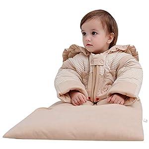 OuYun Baby Organic Sleeping Bag Detachable Sleeve Toddler Wearable Blanket,Autumn&Winter, 3-6 Years