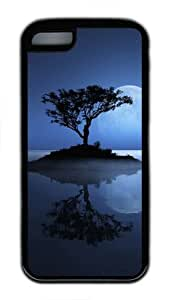 iPhone 5C Case and Cover Full Moon Over The Lake Slim Fit SoftGel Flexible TPU Case for iPhone 5C - Black