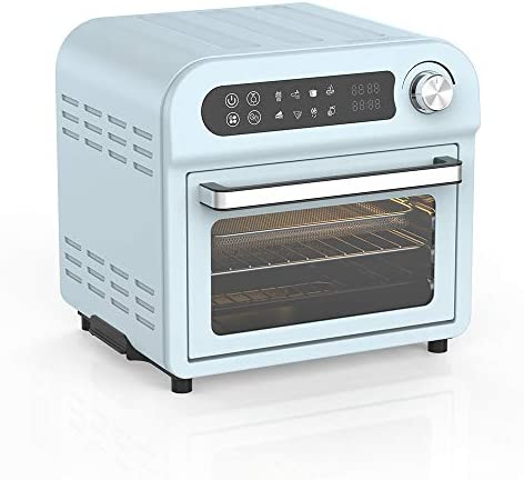 Toaster Oven Air fryer Combo – 8-in-1 Countertop Convention Electric Touchscreen Digital Stainless Steel Compact Baking Roasters With Rotisserie Dehydrator Recipe Included Small Appliances with LED Display for Kitchen Home 11 QT Small Capacity (11 QT, Teal)