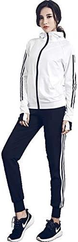 レディースジャージ上下セット 女性のツーピーススポーツアクティブカジュアル長袖スウェットシャツとスウェットパンツアップトラックスーツ (Color : White, Size : M)