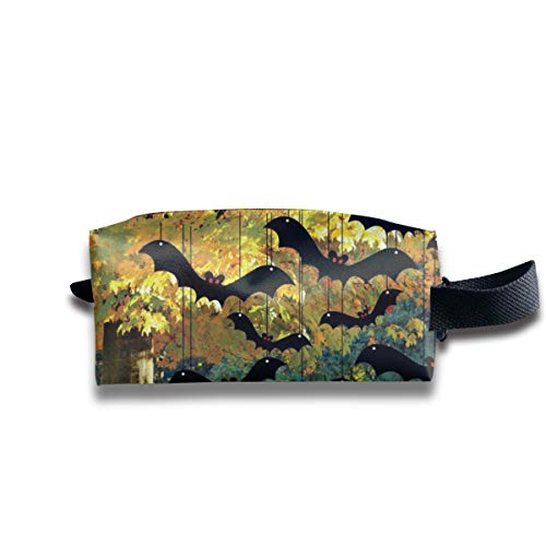 Women's & Girl's Makeup Cosmetic Bag, Portable Travel Toiletry Storage Pouch, Large Capacity Clutch Bag With Cool Bats Halloween Decoration]()
