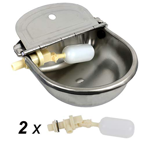 HiCamer Automatic Cow Drinking Water Bowl 304 Stainless Steel Farm Livestock Animals Waterer for Pigs Horse Cattle Goat Sheep Dog with 2 Float Ball Valves