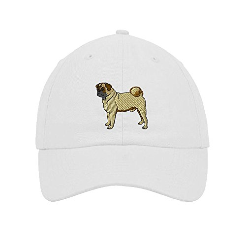 (Speedy Pros Pug Embroidery Twill Cotton 6 Panel Low Profile Hat White)