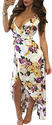 Floral Swing Asymmetrical Split Backless Pleated Strap Deep Allonly V Maxi Women White Sexy Wrap Dress 8zwx4EFq