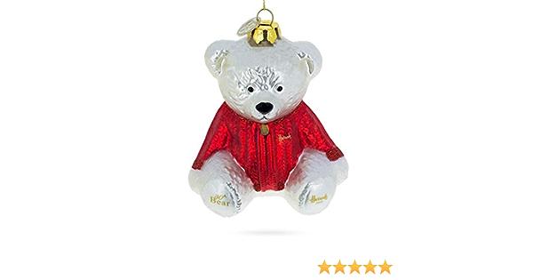 Amazon Com Bestpysanky Teddy Bear In Warm Sweater Glass Christmas Ornament Home Kitchen