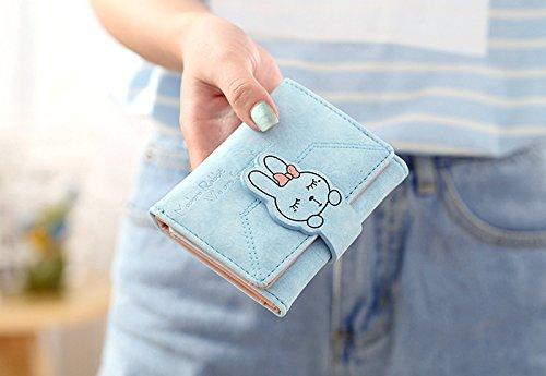 UTO Mujer Monedero lindo de la moneda de la cremallera de las muchachas del organizador del sostenedor de tarjeta de la carpeta de la PU de las con el cierre rápido 1 Azul claro