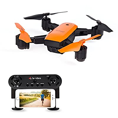 le-idea L7 Foldable GPS Drone with Auto Return Auto Hover Follow Me Mode 720P WIFI FPV RC Drone Live Camera and GPS Positioning Quad Copter with Map Location and Waypoint Setting Orange Color by le-idea