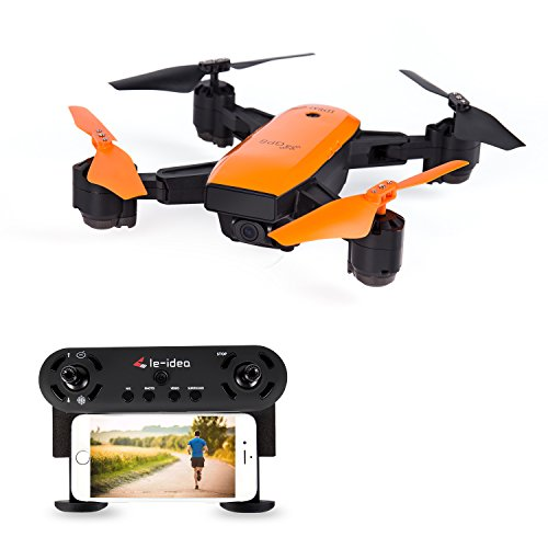 LE-IDEA IDEA7 Foldable GPS Drone with Auto Return Auto Hover Follow Me Mode 720P WIFI FPV RC Drone Live Camera and GPS Positioning Quad Copter with Map Location and Waypoint Setting Orange Color