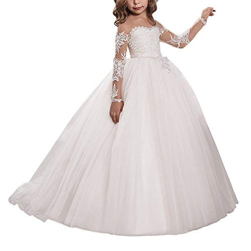 Carat Lace Embroidery Sheer Long Sleeves Kids Trailing Gowns (Size 8, Ivory)