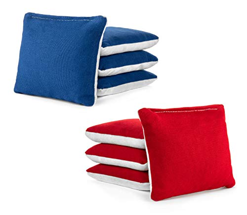 Tailgating Pros Red Royal Blue White Suede Pro-Style Cornhole Bags Two-Sided Slick & Stick Resin-Filled Suede and Duck Canvas Set of 8