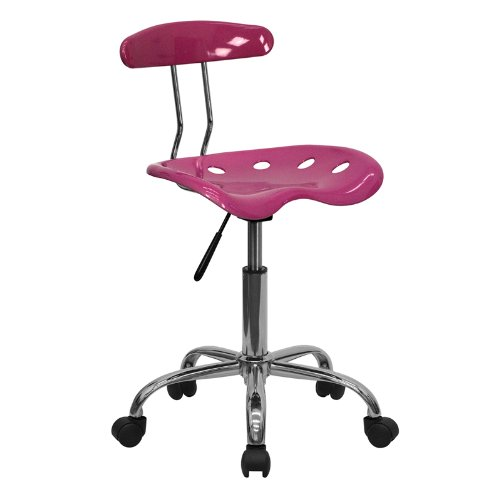 Flash Furniture Vibrant Pink and Chrome Swivel Task Chair with Tractor Seat